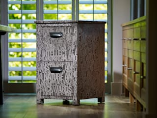 Wilfred upholstered fabric and oak filing cabinet:   by Suzy Newton Ltd.