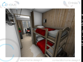 Valorisation Virtuelle - Appartement de montagne: Couloir et hall d'entrée de style  par Crhome Design
