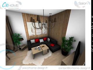 Valorisation Virtuelle - Appartement de montagne: Salon de style  par Crhome Design