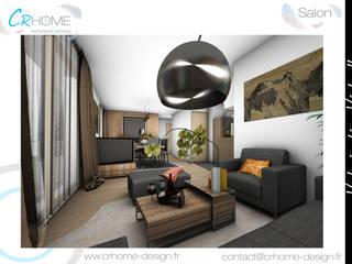 Valorisation Virtuelle - Réunion de 2 appartements en 1: Salon de style  par Crhome Design