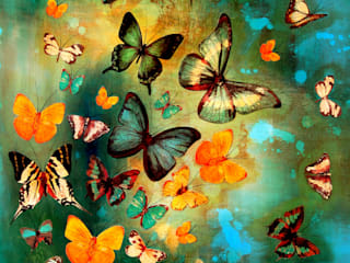 Butterflies on Blues and Greens:   by Lily Greenwood