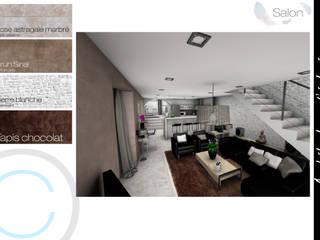 Rénovation - Réunion de 2 maisons: Salon de style  par Crhome Design