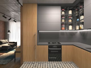 Lugerin Architects Industrial style kitchen Wood Grey