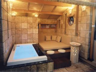 四季を満喫できる和モダンな住宅: 一級建築士事務所 (有)BOFアーキテクツが手掛けた浴室です。,
