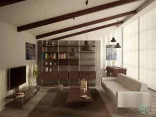 Living room per mini loft: Soggiorno in stile  di Sferica3D,