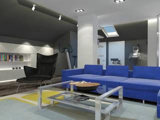 Мансарда 0024 Гостиная в стиле минимализм от Архитектурная мастерская 'SOWA' Минимализм