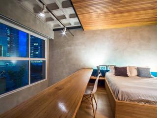 apto cobre/blue: Quartos  por Casa100 Arquitetura,Moderno