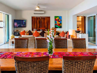 BR ARQUITECTOS Sala da pranzo in stile tropicale Effetto legno