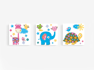 Komplet obrazów dla dzieci PASTELOWE LOVE : styl , w kategorii  zaprojektowany przez PERPETUJA