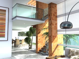 Pasillos y vestíbulos de estilo  por Milla Arquitectos S.A. de C.V., Minimalista