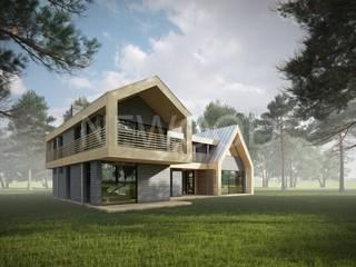NEWOOD - Современные деревянные дома Eklektyczne domy Drewno Wielokolorowy
