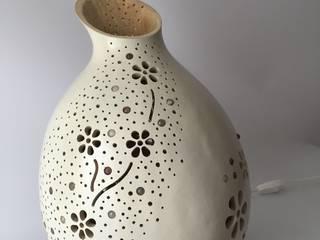 """Lampe Kürbislampe """"Flowergarden Mondstein"""" Atelier Pumpkin-Art WohnzimmerBeleuchtung Weiß"""