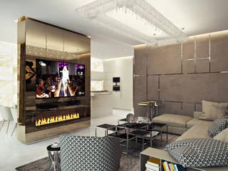 Квартира-студия в стиле Хай-тек: Гостиная в . Автор – студия визуализации и дизайна интерьера '3dm2', Минимализм
