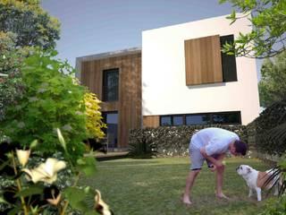 Casa Pré-Fabricada Massy - Paris : Jardins  por Nogueira Fernandes, LDA,Moderno