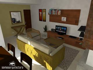 Diseño interior sobre área pública de vivienda: Livings de estilo moderno por Somos Arquitectura
