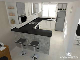 Diseño interior sobre área pública de vivienda: Cocinas de estilo moderno por Somos Arquitectura