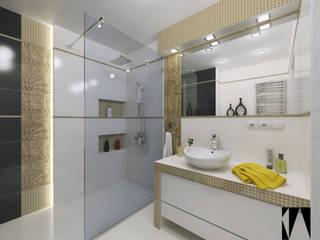 Katarzyna Wnęk 現代浴室設計點子、靈感&圖片 Amber/Gold