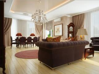 Проект 2х этажного коттеджа в классическом стиле: Гостиная в . Автор – Инна Михайская,