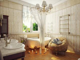 Проект 2х этажного коттеджа в классическом стиле: Ванные комнаты в . Автор – Инна Михайская