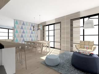 apartament pod znakiem trójkątów : styl , w kategorii  zaprojektowany przez Project Art Joanna Grudzińska-Lipowska