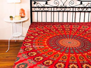 The Kairos Agni Mandala Throw Bedspread Tapestry THE KAIROS BedroomAccessories & decoration Cotton Red