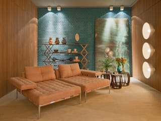 现代客厅設計點子、靈感 & 圖片 根據 Mariana Borges e Thaysa Godoy 現代風