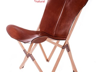 Tripolina Natural Haya Wooden Frame with Polo Malbec leather cover de Big BKF Buenos Aires
