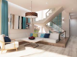 Загородный дом в современном стиле Гостиная в стиле модерн от Настасья Евглевская Модерн