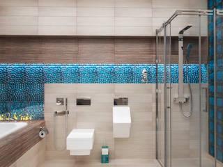 Ванная комната в загородном доме с биокамином Ванная комната в стиле модерн от Настасья Евглевская Модерн