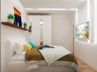 Спальня в квартире-студии для холостяка: Спальни в . Автор – Настасья Евглевская
