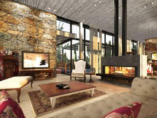 Interior Living Principal: Livings de estilo  por Estudio JP