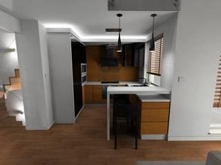 salon z aneksem kuchennym od Plan Design Katarzyna Szczucka Projektowanie Wnętrz