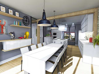 Vue depuis espace repas: Cuisine de style de style Industriel par Julie Cochez Design d'Espace