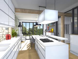 Vue depuis cuisine: Cuisine de style de style Industriel par Julie Cochez Design d'Espace