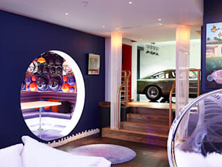 The Bat Cave, Holland Park Salas de estar modernas por Rousseau Moderno