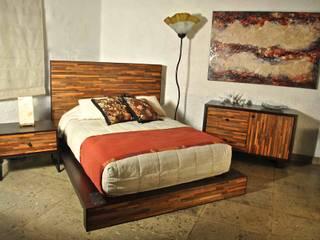 Recamara Reciclato Nogal de Segusino Muebles Condesa Moderno Madera Acabado en madera