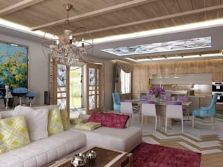 Студия дизайна Натали Хованской Eclectic style living room Purple/Violet
