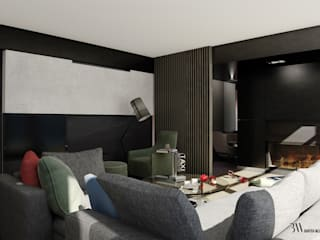 Apartament Fałata Nowoczesny salon od Bartek Włodarczyk Architekt Nowoczesny