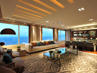 Apartamento Beiramar : Salas de estar  por ANNA MAYA ARQUITETURA E ARTE