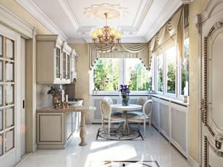 Проект 023: кухня + столовая + зимний сад: Кухни в . Автор – студия визуализации и дизайна интерьера '3dm2', Классический