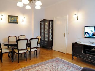 W krakowskiej kamienicy - mieszkanie w klasycznym stylu Klasyczny salon od ARTEMA PRACOWANIA ARCHITEKTURY WNĘTRZ Klasyczny