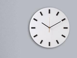 Scandi Clock - zegar drewniany 30 cm, biały prosty: styl , w kategorii  zaprojektowany przez Silva Design