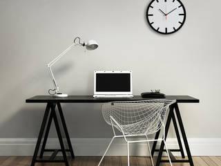 Scandi Clock - zegar drewniany 30 cm, biały: styl , w kategorii  zaprojektowany przez Silva Design