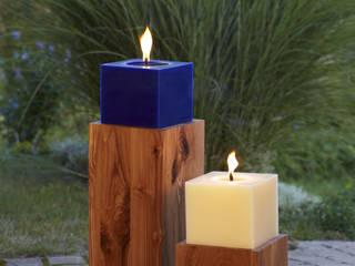 Outdoorkerze 15 x 15 x 12 cm, Kerzenständer Wildeiche und Gebirgsesche:   von Polarlichter-Kerzen
