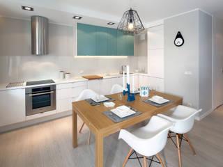 mieszkanie pokazowe 4 pokoje - apartamenty na polanie - Gdynia: styl , w kategorii Jadalnia zaprojektowany przez Anna Maria Sokołowska Architektura Wnętrz ,Minimalistyczny