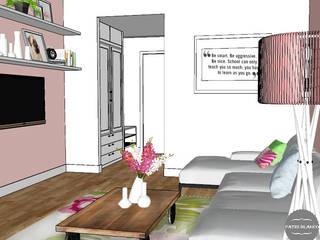 Infografias Salones de estilo moderno de decoración patri-blanco Moderno