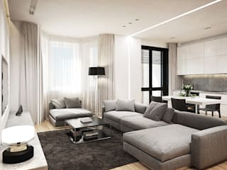 Y.F.architects Living room Grey