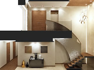Rash_studio Modern corridor, hallway & stairs