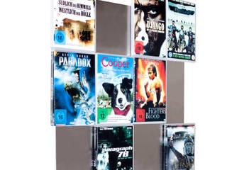 DVD-Wandregal4x3 in Edelstahl - erschaffe dir eine Filmwand im besonderen Style:   von CD-Wall