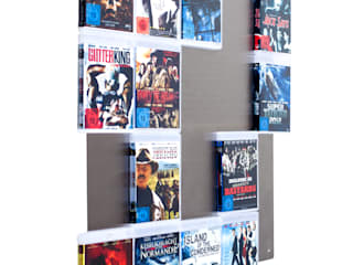 Edelstahl Blu-Ray Wandregal5x4 - 20 Lieblings Movies werden  zur Filmwand:   von CD-Wall